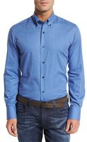 Neiman Marcus Solid Flannel Sport Shirt, Blue