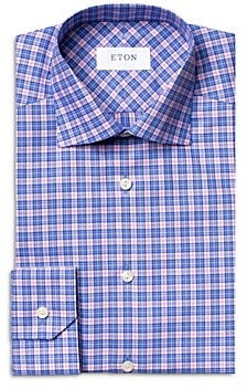 Eton Cotton Twill Check Contemporary Fit Dress Shirt