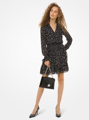 MICHAEL Michael Kors Pearl-Print Georgette Ruffled Wrap Dress