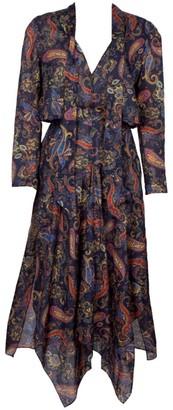 Maje Rista Paisley Handkerchief Midi Dress