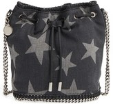 Stella McCartney 'Falabella' Star Print Denim Bucket Bag - Black