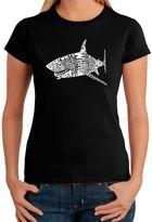 Bed Bath & Beyond Women's Word Art Shark T-Shirt in Black