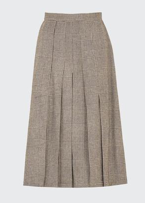 Giuliva Heritage Collection Glen-Checked Plisse Midi Skirt