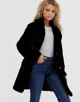 New Look faux fur coat in black