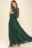 LuLu*s Field of Dreams Forest Green Lace Maxi Dress