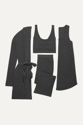 Skin - Ribbed Jersey Travel Set - Charcoal