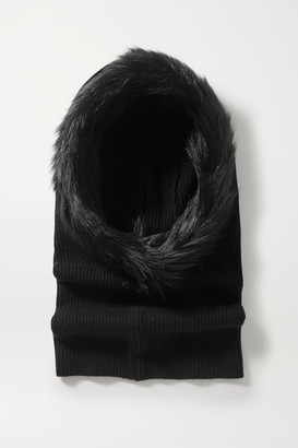 Eugenia Kim Paulina Faux Fur-trimmed Ribbed Cashmere Snood