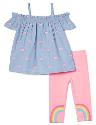 Freestyle Revolution Girls 4-6X Cold Shoulder Chambray Top and Rainbow Legging, 2-Piece Outfit Set