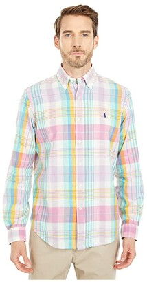 Polo Ralph Lauren Classic Fit Madras Shirt (Light Pink/Aqua Multi) Men's Clothing