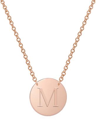 Jane Basch Designs 14K Rose Gold Initial Disc Necklace (A-Z)