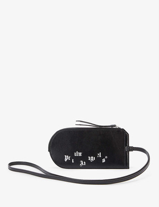 Palm Angels Logo-print leather neck pouch