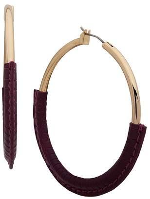 Ralph Lauren Leather Wrapped Hoop Earrings