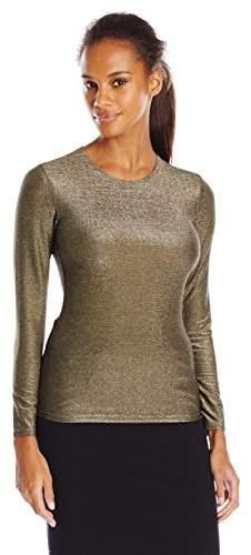 Only Hearts Women's Metallic Jersey Long Sleeve Crew Neck Shirt