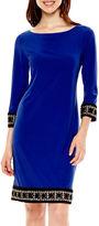 Tiana B 3/4-Sleeve Embellished Hem Shift Dress