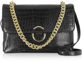 Roccobarocco Bento Croco Embossed Eco-leather Shoulder Bag