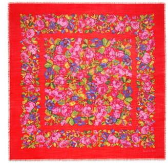 Gucci Raquel Floral Silk & Wool Shawl