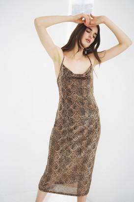 Dress Forum Snake Print Cowl Neck Midi Dress