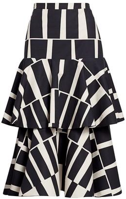 Johanna Ortiz Tiered Cotton Midi Skirt