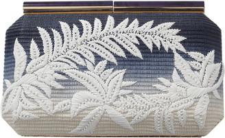 Oscar de la Renta Saya Floral Embroidered Raffia Clutch