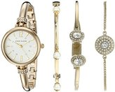Anne Klein Women's AK/2336GBST Swarovski Crystal Accented Gold-Tone Bangle Watch and Bracelet Set