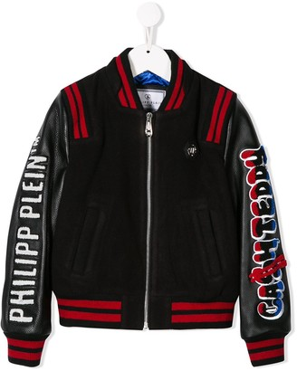 Philipp Plein Junior Teddy Bear bomber jacket