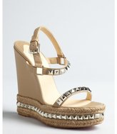 Christian Louboutin natural leather and jute silver studded platform 'Cataclou' wedge sandals