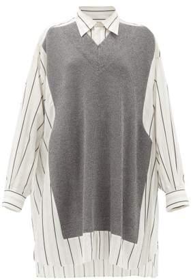 Maison Margiela Deconstructed Oversized Knit-panel Cotton Shirt - Womens - Grey Stripe