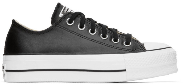 Black Leather Converse Low | Shop the