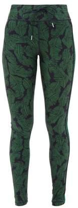 The Upside Palm Leaf-print Performance Leggings - Womens - Green Navy
