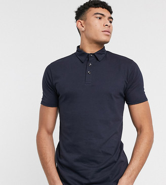 Le Breve Tall slim fit polo in muscle fit in navy