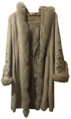 Non Signé / Unsigned Non Signe / Unsigned Beige Suede Coat for Women