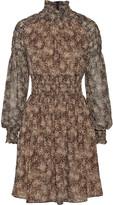 Michael Kors Smocked printed silk-chiffon mini dress