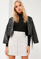 Missguided Grey Pocket Zip Through Satin Back Crepe Mini Skirt