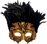 KBW GLOBAL CORP Venetian Antique Deep Gold Half Mask Mardi Gras Feathers Angel Cherub Roman Bird