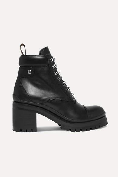 Miu Miu Leather Ankle Boots - Black