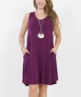 Lydiane Women's Casual Dresses DK.PLUM - Dark Plum V-Neck Sleeveless Curved-Hem Pocket Dress - Women
