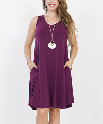 Lydiane Women's Casual Dresses DK.PLUM - Dark Plum V-Neck Sleeveless Curved-Hem Pocket Dress - Women & Plus