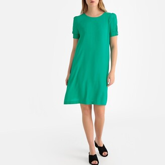 La Redoute Collections Puff Sleeve Tie-Back Dress