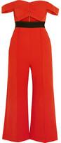 Self-Portrait Off-the-shoulder Cutout Ponte Jumpsuit - Red