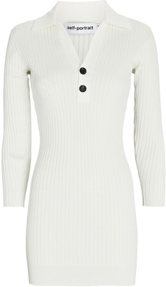 Self-Portrait Rib Knit Polo Mini Dress