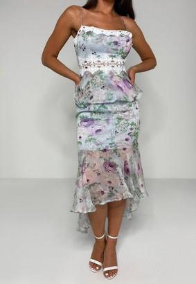 Missguided Blue Floral Print Lace Insert Midi Dress