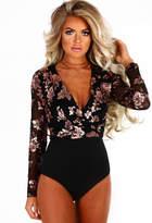 Pink Boutique Luxury Merritt Black and Rose Gold Sequin Bodysuit