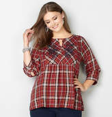 Avenue Floral Embroidered Plaid Babydoll Top