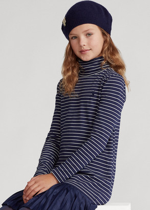 Ralph Lauren Pleated-Skirt Turtleneck Dress