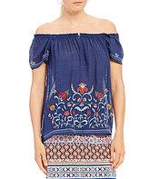 I.N. Studio Short Sleeve Embroidered Gauzy Texture Top