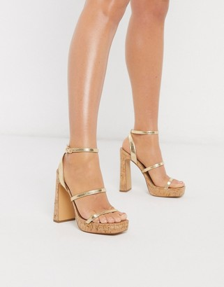 London Rebel 90's cork platform heeled sandals in gold