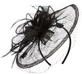 San Diego Hat Company Women's Fasninator Hat with Curled Bow and Feathers