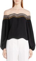 Fendi Women's Illusion Wave Silk Blouse