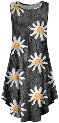 Lily Women's Casual Dresses GRY - Gray & Orange Floral Curved-Hem Sleeveless Dress - Women & Plus