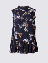 Marks and Spencer Floral Print Palm Peplum Vest Top